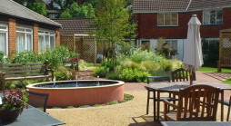 Care Home Garden with ample seating