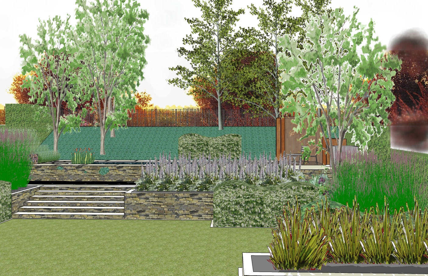 Sloping garden design gerrards cross by rhoda maw garden for Small sloping garden designs