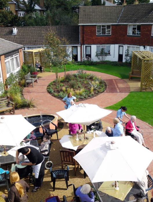 Residents having a BBQ in their Care Home garden