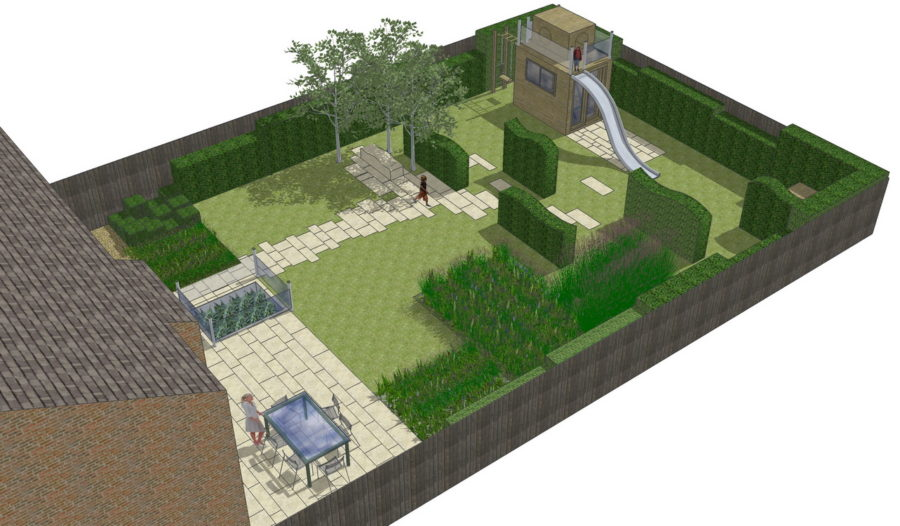 3D View of a family Low maintenance gardens