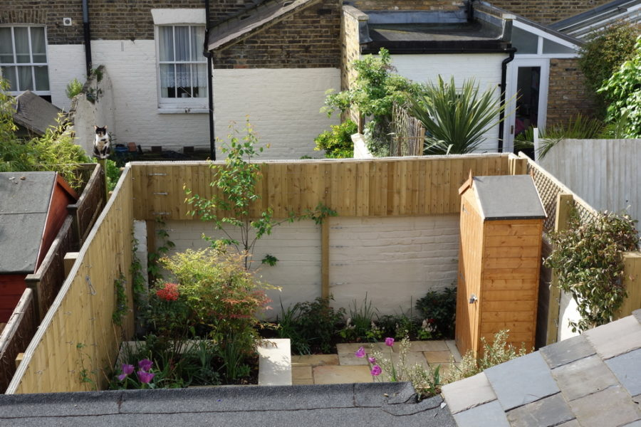 Small Garden ideas with New shed, fencing and planting
