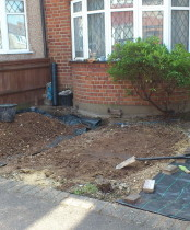 Small front garden being built