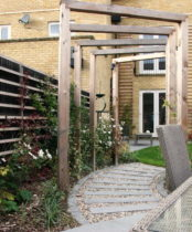 Garden ideas with Pergola over path leading from house to patio