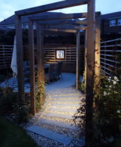 Garden lighting with the Wall art framed