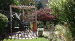 Garden re designed in Ruislip with small patio, pergola and beautiful garden