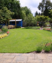 Beautiful sweeping garden designed by Rhoda Maw