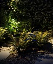 Lighting in Modern Garden Ruislip - with shadows of Ferns