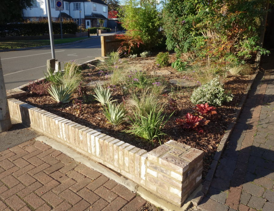 Front Garden in Ickenham now on full view for all passers by to see. Lovely low wall , new planting and stepping stones
