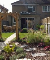 cottage garden planting in this semi-detached house