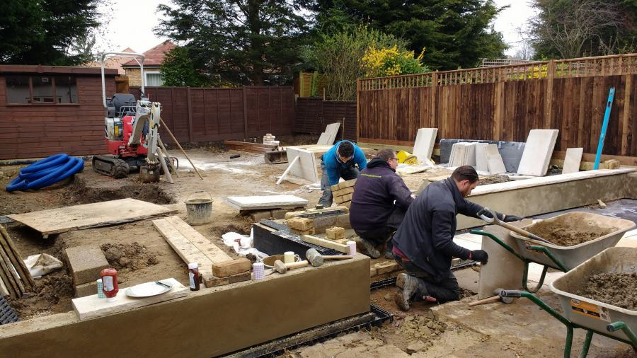 Medium garden design ideas being built