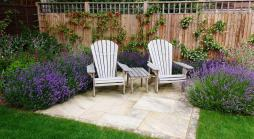 Seating and Lavender in a Medium garden design