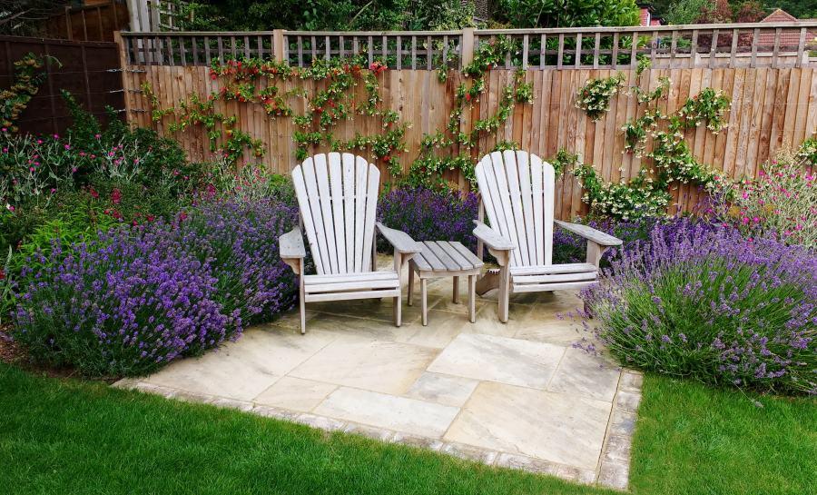 Seating and Lavender in a Medium garden design