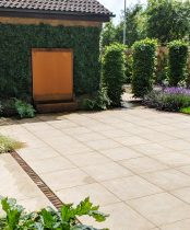 Contemporary Landscaping, Corten Steel, Porcelain and Artificial green wall