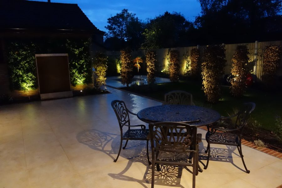 Contemporary Landscaping illuminated at night